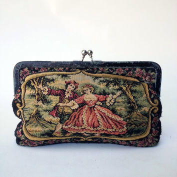 La Regale Tapestry Clutch Purse with Victorian Scene  Ask a Question