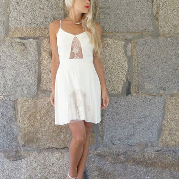 Anita: Ivory silk and vintage lace slip dress
