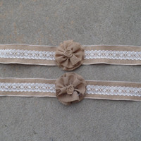 Burlap Curtain Tieback with burlap flower and lace  Set of 2, window treatment, burlap curtain, burlap drapery