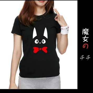 Kiki Delivery Service JiJi Black Cat From Japanese Anime Women Short Sleeve T Shirt Cool Novelty Unisex Printed Style T-shirt