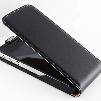 New Retro Real Genuine Leather Case for iPhone 4 4S 4G 5 5S 5G Luxury Vertical Magnetic Flip Phone Accessories Cover Black