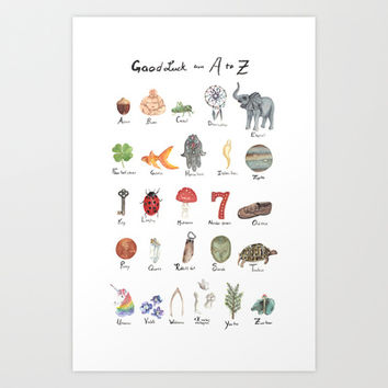Good Luck from A - Z Art Print by the tiny totem