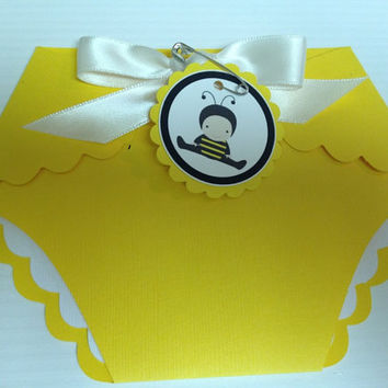 25 Yellow Bumble Bee Baby Shower Diaper by PaperDivaInvitations