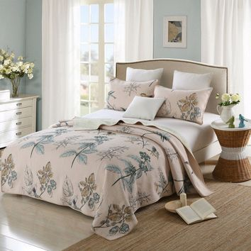 Full size 3-Piece 100-Percent Cotton Quilt Bedspread Set with Floral Birds Pattern
