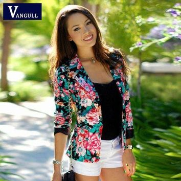 ESBHY9 Women Floral Blazer Jacket 2016 New Casual Female Suit Ladies One Button Slim Suit Coat Jacket Blazer Outwear Mujer