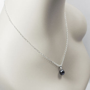 single black pearl necklace - pearl pendant necklace - bridesmaid jewelry