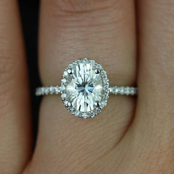 Federella 8x6mm 14kt White Gold Oval FB Moissanite and Diamond Halo Engagement Ring (Other metals and stone options available)
