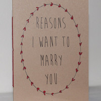 Reasons I Want To Marry You Booklet With Handpainted Frame Detail