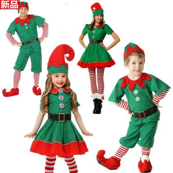 2018 Women Men Boy Girl Christmas Santa Claus Costume Kids Adults Family Green Elf Cosplay Costumes Carnival Party Supplies