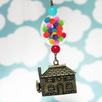 "Disney UP House Locket with Glass Bead , Colorful Pom Poms ""Gumball Necklace"" Antique Bronze ,Pixar Movie"