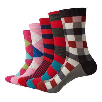 Men Argyle and Stripe  Cotton Crew socks  Business Socks  (5 pairs / lot )