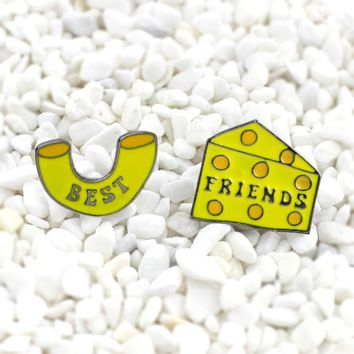 Cheese shape cheesecake Suit Enamel brooch yellow Cartoon best friend icon badge fashion accessories Cute gift