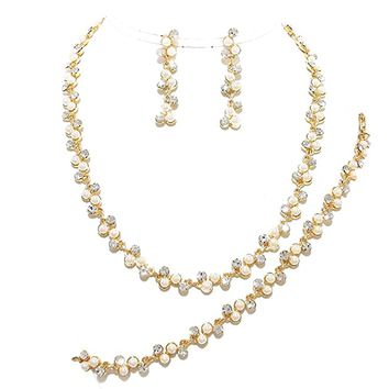 Elegant Cream Pearl Simulated Clear Crystal Gold Chain 3Pcs Affordable Bracelet Necklace Earring Set