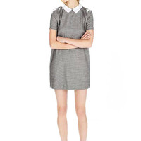 Grey Mini Dress with Contrast Lapel Neckline