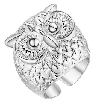 Silver Plated Charming Owl Shape Rose Wedding Rings(Adjustable)