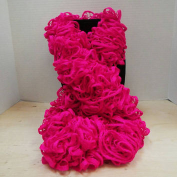 Crochet Ruffled Scarf, Handmade Hot Pink Lacy Pink Accent Winter / Warm Scarf