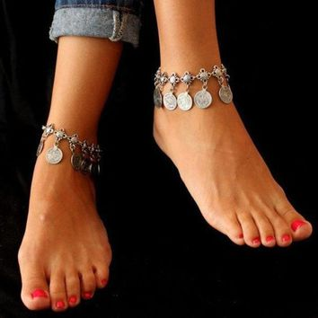 CREYUG3 Tribal Bohemian Moon Lovers Coin Tassels Anklet Chain Bracelet Antique Silver Jewelry (Size: 1, Color: Antique silver) = 1928483204