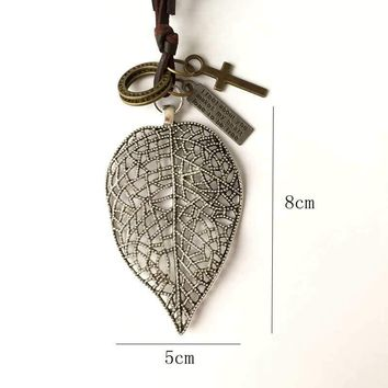 Vintage statement necklace cute Leaf pendant choker jewelry lovely leather rope necklaces Insect pendants collares mujer