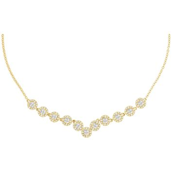 14kt Yellow Gold Womens Princess Diamond Soleil Cluster Luxury Necklace 1-7/8 Cttw