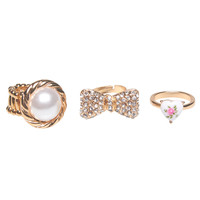 Heart & Bow Ring Set   Wet Seal