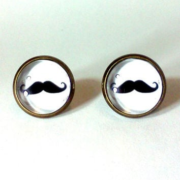 Mustache Earrings, Mustache Accessories, Mustache Jewelry, Mustache, Black and White, White Jewelry, Trendy Earrings, Trendy Jewelry, Trendy