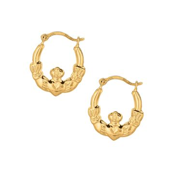10K Yellow Gold Shiny Textured Round Claddagh Small Hoop Earring  with Hinged Clasp