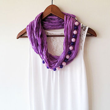 Pink Lilac jewelry scarf , Unique Scarf, Silk and Acrylic Beads, Infinity scarf, Jewelry Scarves, Fashion Accessories, Valentine's Day