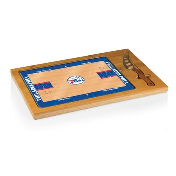 Philadelphia 76ers - 'Icon' Glass Top Serving Tray & Knife Set by Picnic Time (Basketball Design)