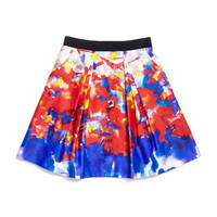 Katie Watercolor-Print Sateen Skirt, Multicolor, Size 8-14 - Milly Minis