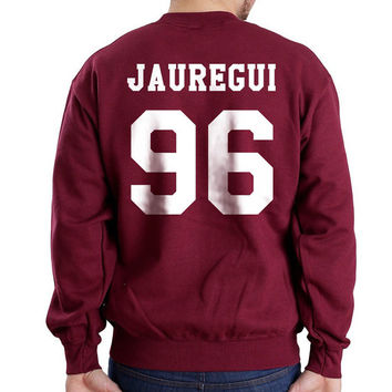 Jauregui 96 on back Lauren Jauregui fifth harmony  Maroon Unisex Crewneck Sweatshirt