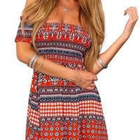 Off Shoulder Dress In Retro Print