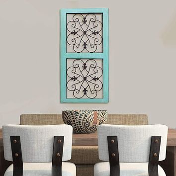 Traditional Mango Wood Framed Wall Panel with Metal Scroll Work Details, Green and Brown