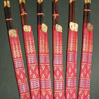 Set of 6 Chopsticks in Cloth cases with elephant emblishments