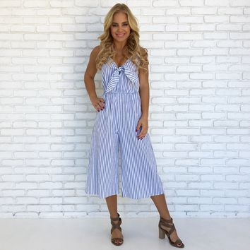 Knotical Stripe Jumpsuit in White