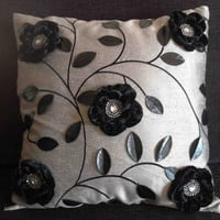 grey black flower leather leaf cushion in size by Tatvakala