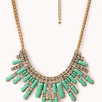 FOREVER 21 Art Deco Fan Bib Necklace Mint/Gold One