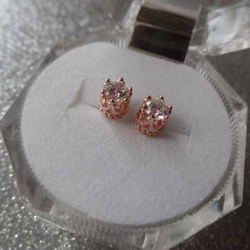 14 Karat Rose Gold Plated Sterling Silver Crown Set CZ Earrings