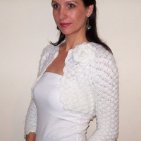 BRIDAL SHRUG wedding bolero mohair white color size XS, S, M