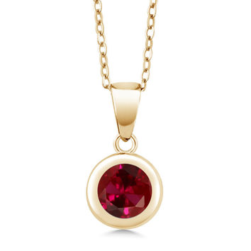 1.55 Ct Round Red Created Ruby 18K Yellow Gold Plated Silver Pendant With Chain