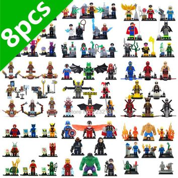 Batman Dark Knight gift Christmas SY Super Hero 8pcs/lot DC Deathstroke Harley Quinn Red Arrow Sinestro Iron Man Batman Building Blocks Sets Model Bricks Toys AT_71_6
