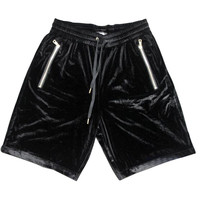 Yeezy Inspired Black Velvet Jogger Shorts