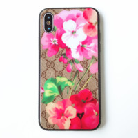 GUCCI New fashion flower more letter print couple floral glass phone case cover phone case Pink