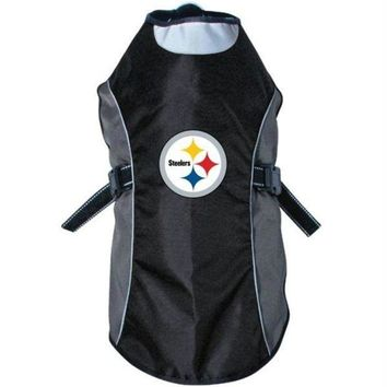 auguau Pittsburgh Steelers Water Resistant Reflective Pet Jacket