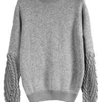 Grey Mock Neck Cable Knit Sweater