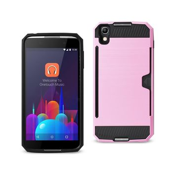 New Alcatel One Touch Idol 4 Slim Armor Hybrid Case With Card Holder In Pink