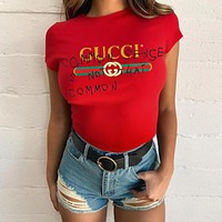 GUCCI street fashion men and women models graffiti letters loose wild half sleeve t-shirt Red