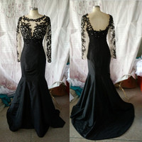 Gorgeous Black Taffeta Mermaid Style Scoop Neckline Long Sleeves Appliques Beads Formal Evening Dresses Prom Dresses ET162