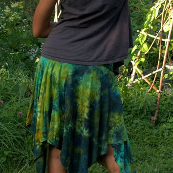 Organic bamboo jersey asymmetric hand dyed pixie skirt in turquoise, navy and yellow S, M, L