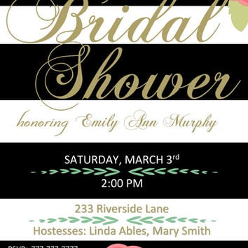 DIY Printable Black and White Bridal Shower Invitation with Coral Flowers and Gold Writing Elegant Wedding Shower