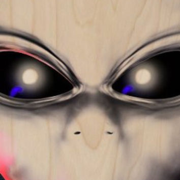 Alien Martian Face Closeup Eyes - Plywood Wood Print Poster Wall Art